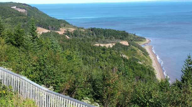 This is a view from the end of Phase I to the beginnings of Phase II of the Fundy Trail Parkway. Eventually, it will extend from St Martin's all the way to Fundy National Park. The land in between is currently wilderness. Yeah, that's different from Acadia, too...